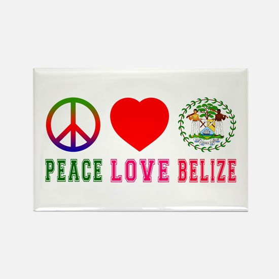 Peace Love Belize Rectangle Magnet