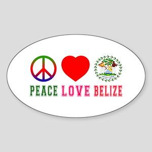 Peace Love Belize Sticker (Oval)