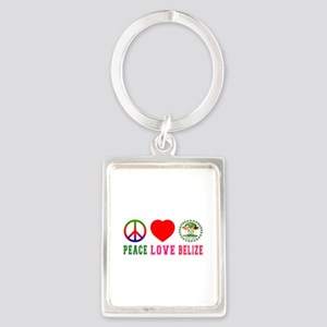 Peace Love Belize Portrait Keychain