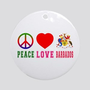 Peace Love Barbados Ornament (Round)