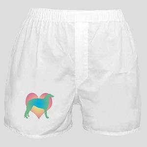 borzoi multicolor heart Boxer Shorts