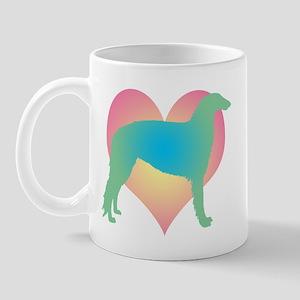 borzoi multicolor heart Mug