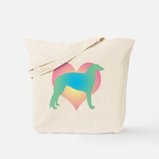 borzoi multicolor heart Tote Bag