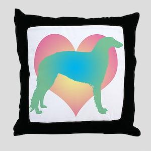 borzoi multicolor heart Throw Pillow