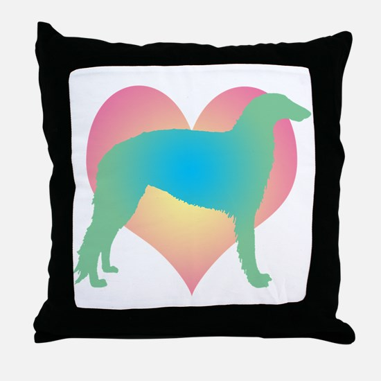 borzoi multicolor heart Throw Pillow