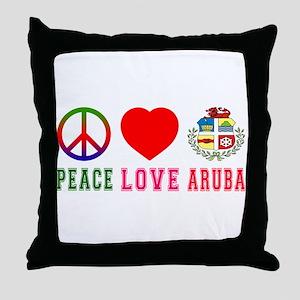 Peace Love Aruba Throw Pillow