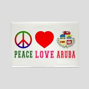 Peace Love Aruba Rectangle Magnet