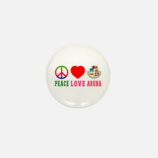 Peace Love Aruba Mini Button