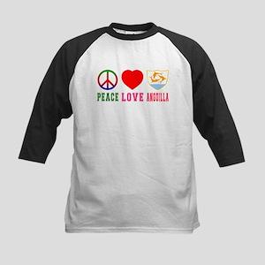 Peace Love Anguilla Kids Baseball Jersey