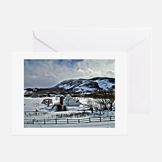 Park City Barn in Snow Greeting Cards