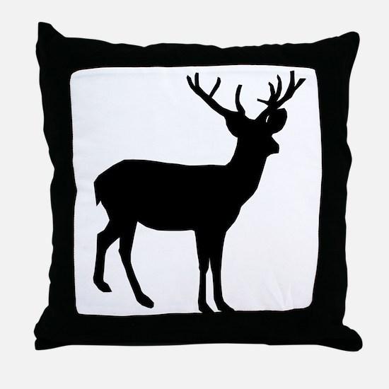 Buck Silhouette Throw Pillow