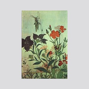Utamaro - Rice Locust, Red Dragon Rectangle Magnet