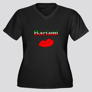 Baciami Women's Plus Size V-Neck Dark T-Shirt