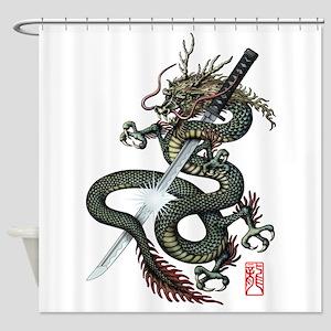 Dragon Katana Shower Curtain