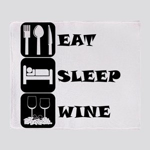 Eat Sleep Wine Throw Blanket