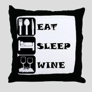 Eat Sleep Wine Throw Pillow