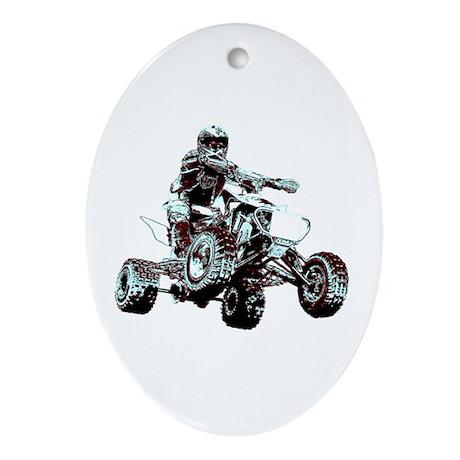 ATV Racing Oval Ornament