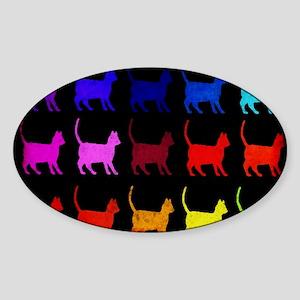 Rainbow Of Cats Sticker (Oval)