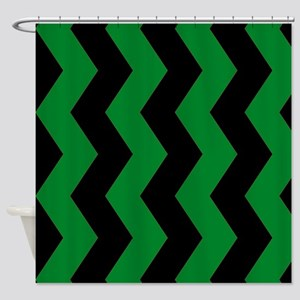 Black And Green Horizontal Chevron Shower Curtain