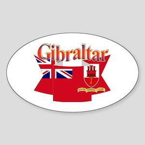 Gibraltar flag ribbon Oval Sticker