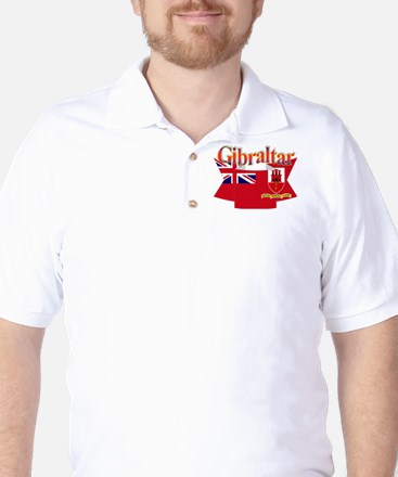 Gibraltar flag ribbon Golf Shirt