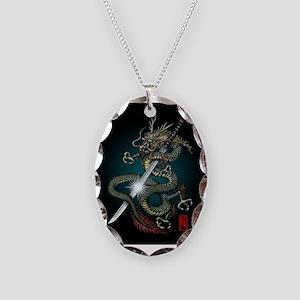 Dragon Katana01 Necklace Oval Charm