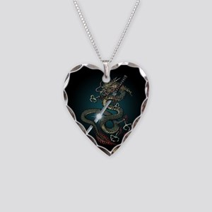 Dragon Katana01 Necklace Heart Charm