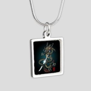 Dragon Katana01 Silver Square Necklace