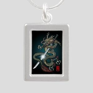 Dragon Katana01 Silver Portrait Necklace