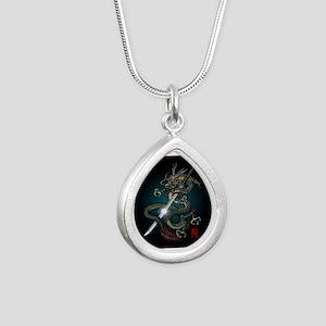 Dragon Katana01 Silver Teardrop Necklace