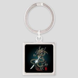 Dragon Katana01 Square Keychain