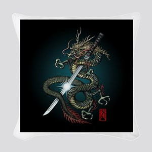 Dragon Katana01 Woven Throw Pillow
