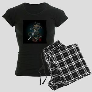 Dragon Katana01 Women's Dark Pajamas
