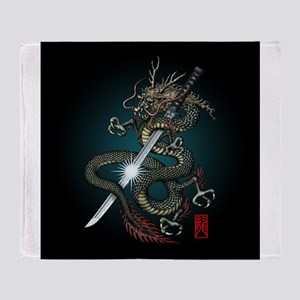 Dragon Katana01 Throw Blanket