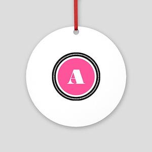 Pink A Monogram Round Ornament