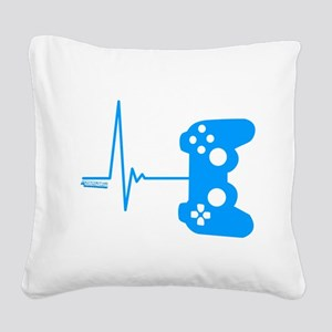 Gamer Heart Beat Square Canvas Pillow