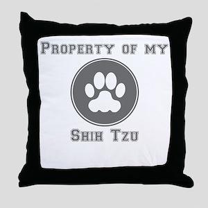Property Of My Shih Tzu Throw Pillow
