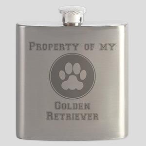 Property Of My Golden Retriever Flask