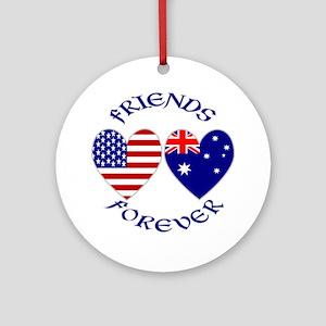 Australia USA Friends Ornament (Round)