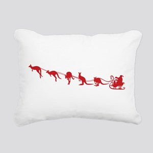 Kangaroo Santa Rectangular Canvas Pillow