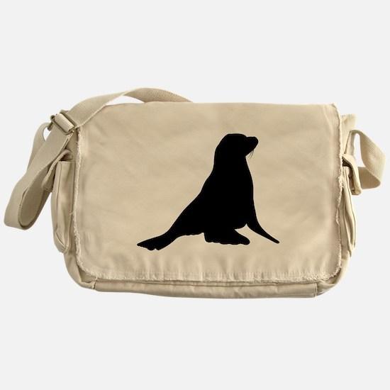 Sea Lion Silhouette Messenger Bag
