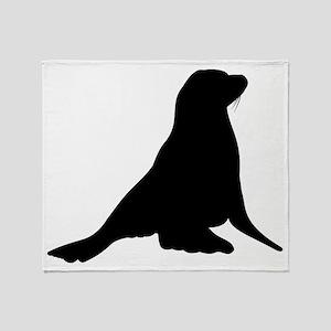 Sea Lion Silhouette Throw Blanket