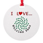 I Love Whirled Peas Round Ornament