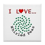I Love Whirled Peas Tile Coaster