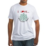 I Love Whirled Peas Fitted T-Shirt