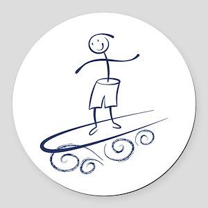 Stick Surfer Round Car Magnet