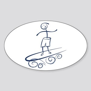 Stick Surfer Sticker (Oval)