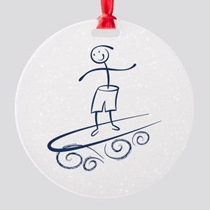 Stick Surfer Round Ornament
