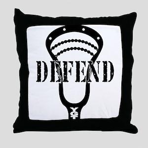 Lacrosse Defend Head Black Throw Pillow