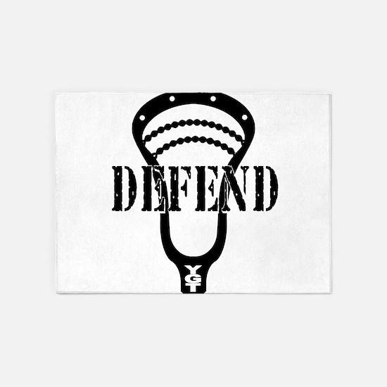 Lacrosse Defend Head Black 5'x7'Area Rug